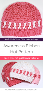 Awareness Ribbon Crochet Hat Pattern. Sizes Child and Adult S M L. Free Pattern from Oombawka Design Crochet