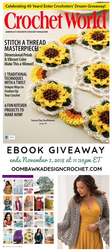 Crochet World August 2018 Issue PDF Giveaway from Annies Craft Store and Oombawka Design Crochet