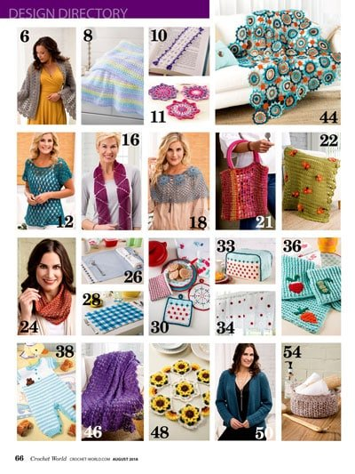 Crochet World August 2018 Pattern Directory