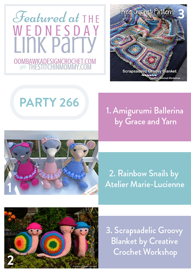 Featuring Amigurumi Ballerina Dolls, Rainbow Snails and the Scrapsadelic Groovy Blanket!