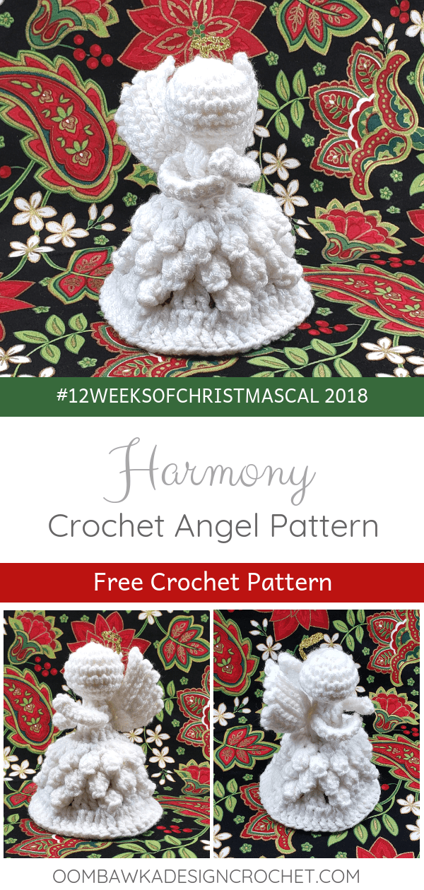 Harmony 2018 Crochet Christmas Angel Pattern by Rhondda Mol Oombawka Design Crochet 2018 Christmas Angel Crochet Pattern