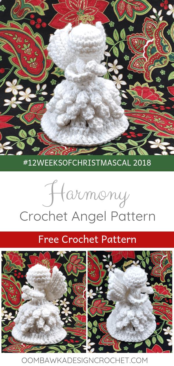 Harmony 2018 Crochet Christmas Angel Pattern by Rhondda Mol Oombawka Design Crochet 2018 Christmas Angel Crochet Pattern