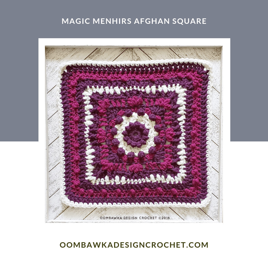 Magic Menhirs Afghan Square Pattern and Diagram from Rhondda Mol of Oombawka Design Crochet