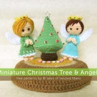 Minature Christmas Tree and Angels by Tales of Twisted Fibers