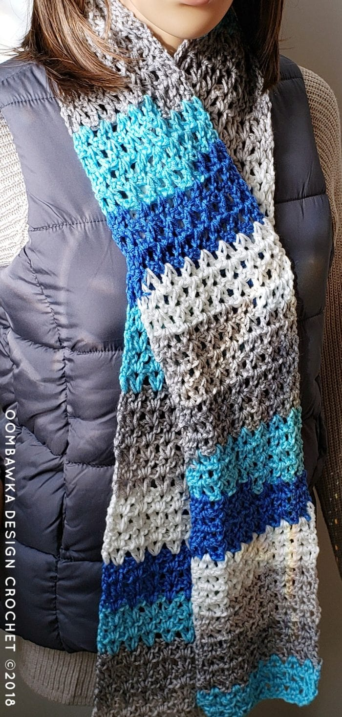 Make this Basic V-Stitch Scarf for donation projects. All you need is one ball of medium weight yarn [4] and a 5.5 mm (I) crochet hook. This is a beginner friendly project and includes a video! Get the pattern here, for free, today!