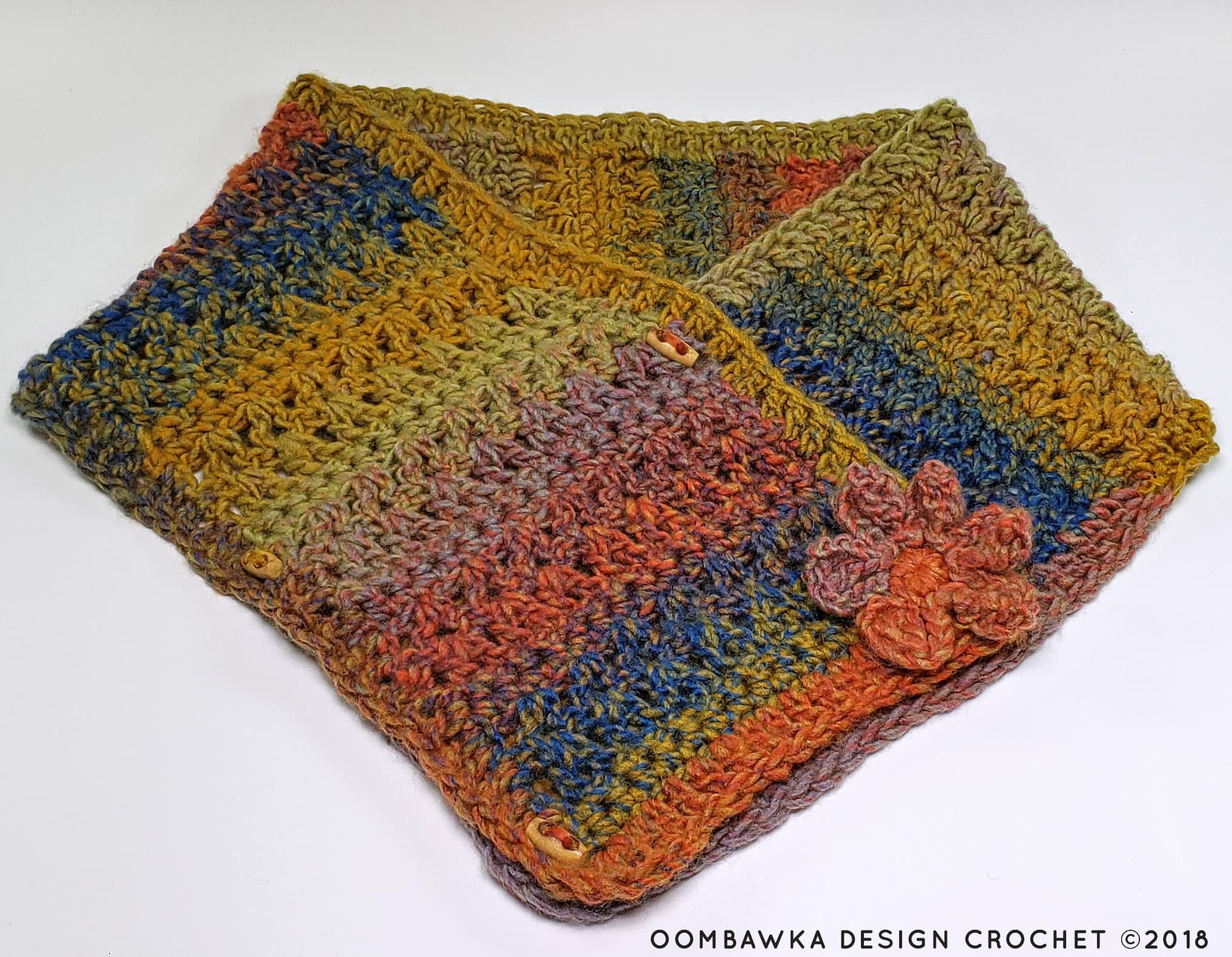 Sweet and Simple Scarf Pattern by Rhondda Mol Flower Option 1