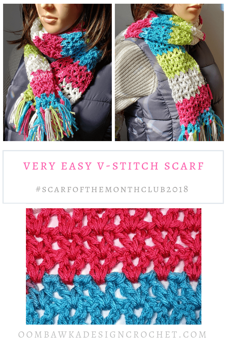 Very Easy V-Stitch Scarf Pattern. Free Crochet Pattern by Oombawka Design Crochet. Scarf of the Month Club 2018