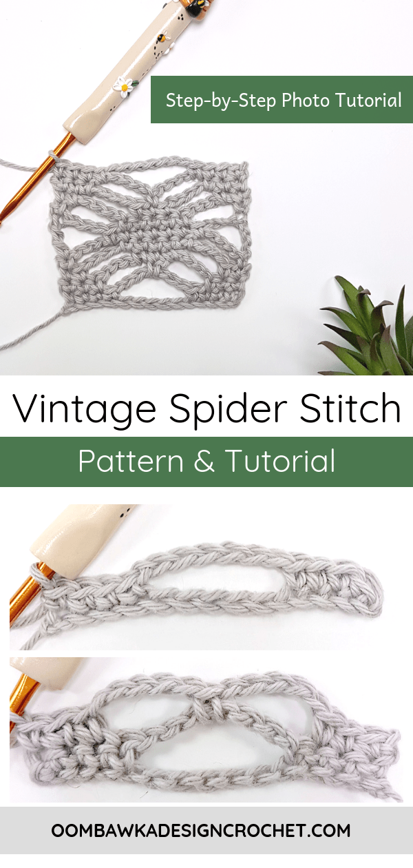 This post includes a traditional vintage spider stitch pattern which I have broken down into a single square. This spider stitch pattern can be crocheted with any yarn or hook combination. #crochet #tutorial #spiderstitch