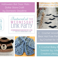 Wednesday Link Party 266 Featured Favorites. Halloween Bat Mats Crochet Woodland Bear Hat and Crochet Baby Blue Sweater. Hosted by Oombawka Design and The Stitchin Mommy.