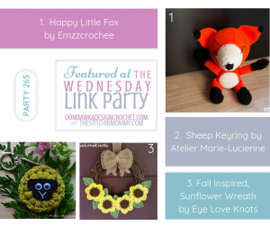 Wednesday Link Party Features Happy Little Fox, Sheep Keyring and Pretty Sunflower Fall Wreath Crochet Projects