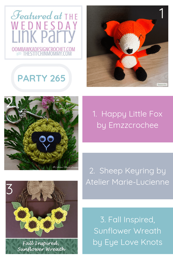 Wednesday Link Party Features Happy Little Fox, Sheep Keyring and Pretty Sunflower Fall Wreath Crochet Projects PIN