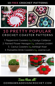 10 Pretty Popular Crochet Coaster Patterns Oombawka Design Crochet Roundup