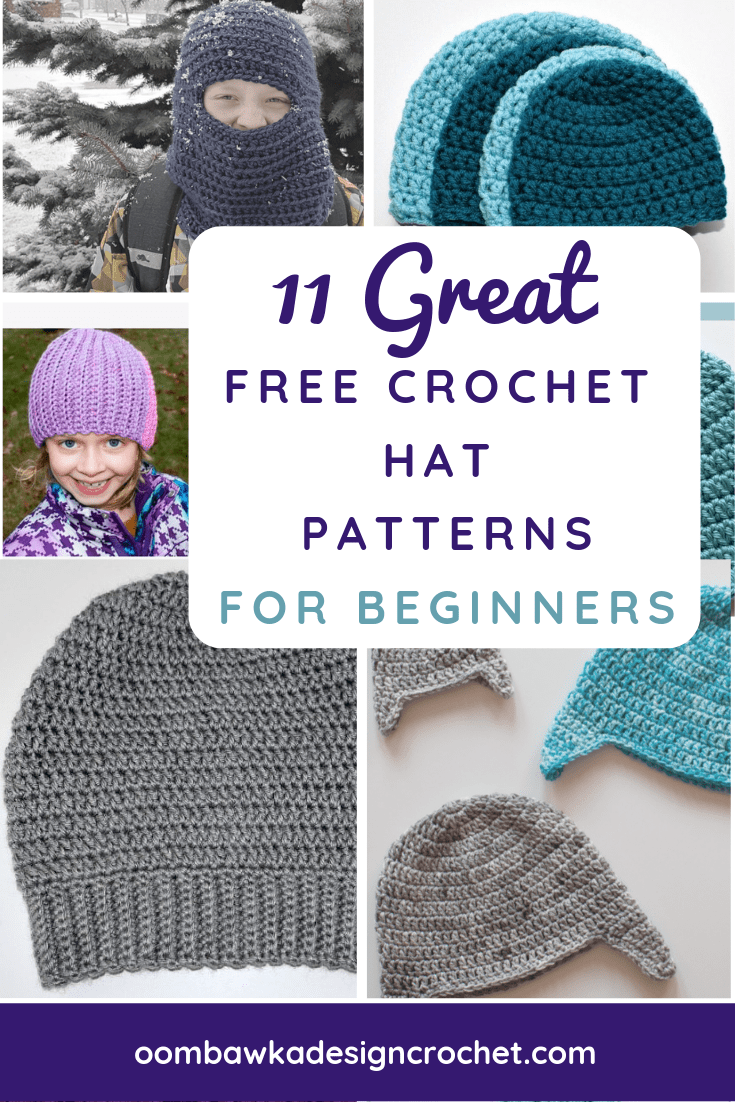 Oombawka Design Crochet is a great place to visit for Free Crochet Hat Patterns for Beginners. I thought I would create a roundup of easy crochet hat patterns that you can confidently crochet as a Beginner Crocheter. This way you will be able to find them all in one central post. #freepatterns #beginnercrochet #crochet #patternsforbeginners