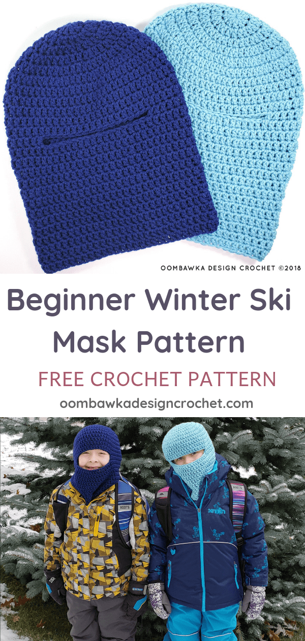 Beginner Winter Ski Mask Pattern from Oombawka Design Crochet Sizes up to Adult Large