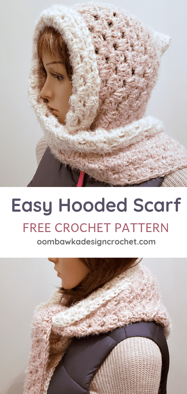 Easy Hooded Scarf Pattern. PIN Free Crochet Pattern Oombawka Design Crochet
