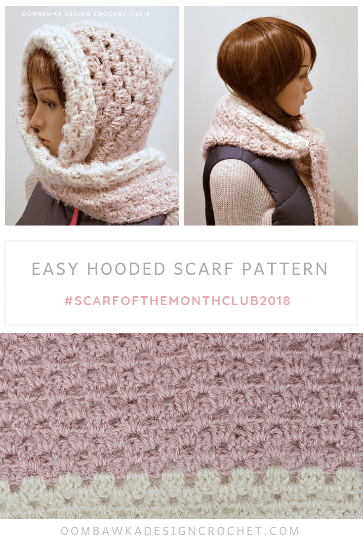Easy Hooded Scarf Pattern from Oombawka Design Crochet Scarf of the Month Club November