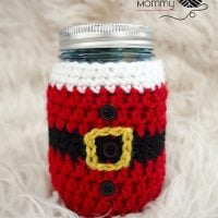 Little Santa Mason Jar Cozy by Amy Ramnarine