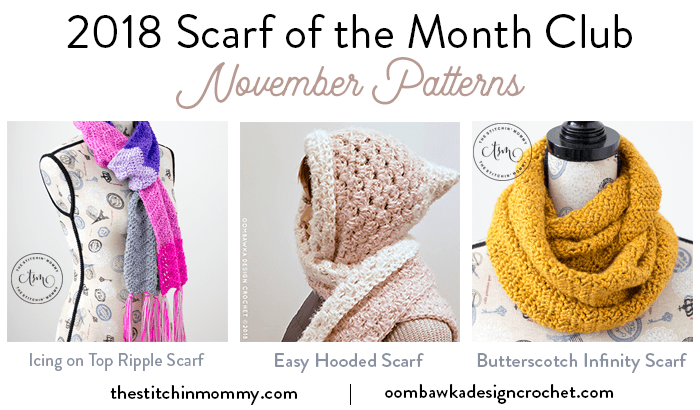 Scarf of the Month Club November 2018 3 Free Patterns Oombawka Design Crochet