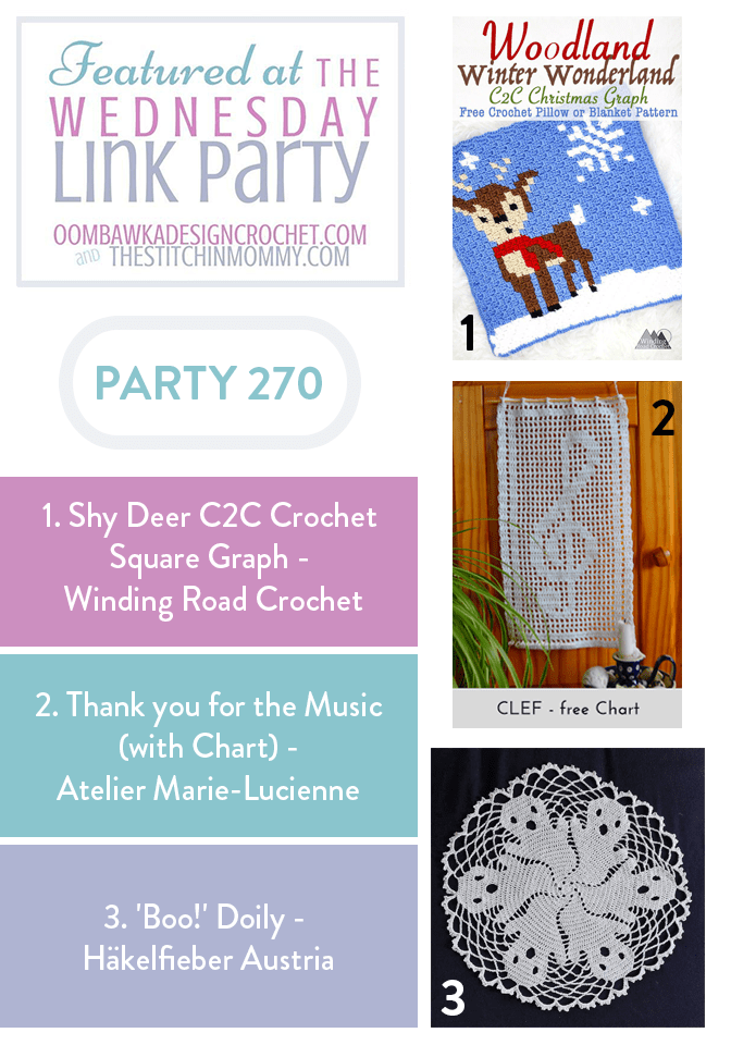 Shy Deer Corner to Corner Square Pattern is Featured this week at the Wednesday Link Party 270 with Oombawka Design Crochet and the Stitchin Mommy pin