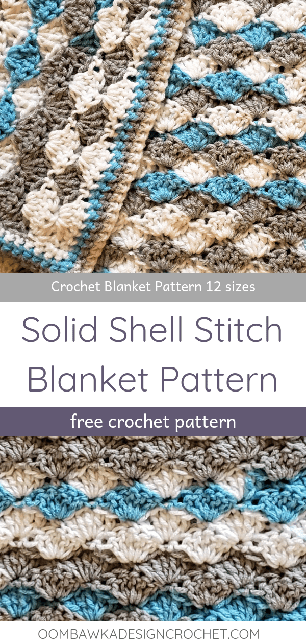 Solid Shell Stitch Blanket Pattern in 12 sizes Oombawka Design Crochet