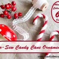 Tutorial for No-Sew Candy Cane Ornaments by Sew Historically