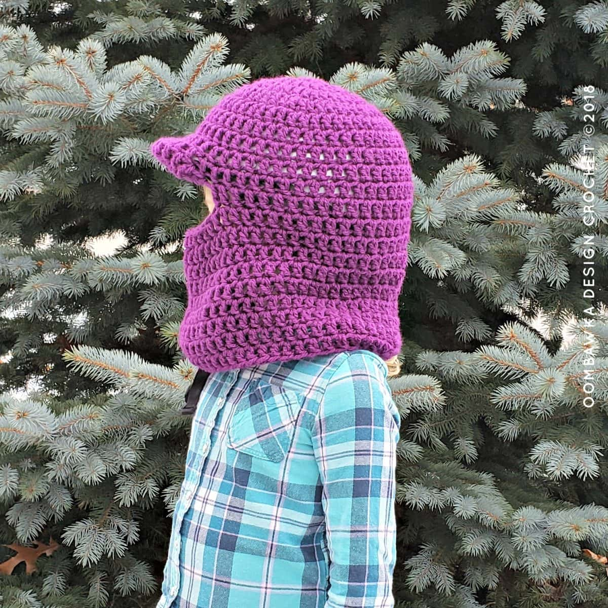 Winter Horseback Riding Helmet Cover Pattern side view from Oombawka Design Crochet