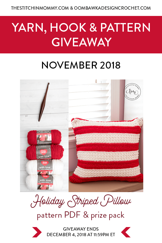 Visit Oombawka Design Crochet and The Stitchin' Mommy to enter the November Yarn Hook and Pattern Giveaway