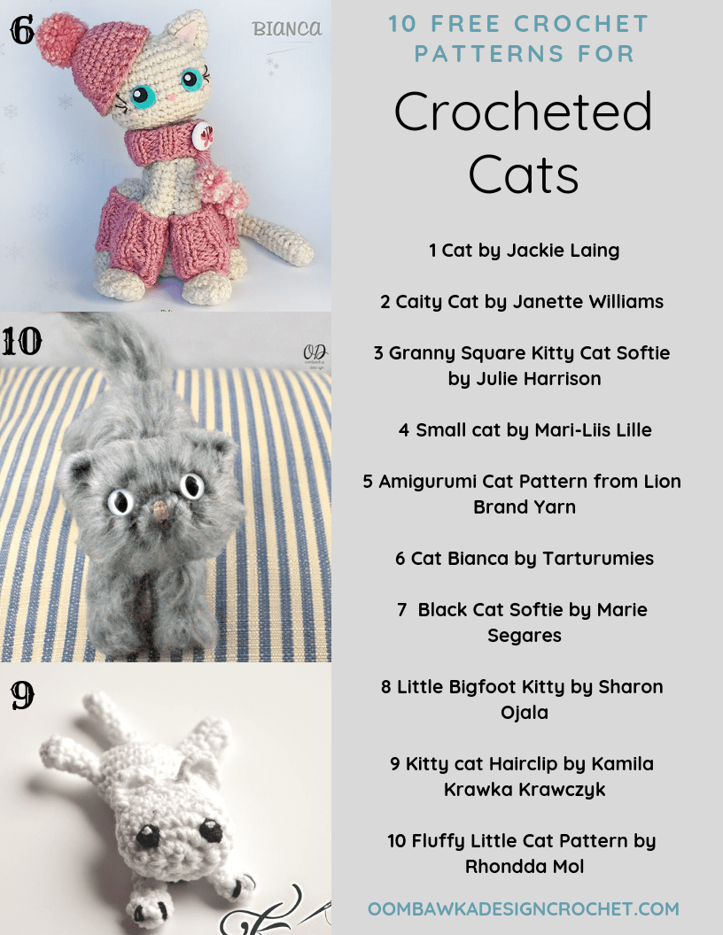 10 Free Patterns for Crochet Cats by Oombawka Design Crochet Roundup