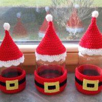 Santa Glass Jar Cover. Free Pattern - Haekelfieber Austria
