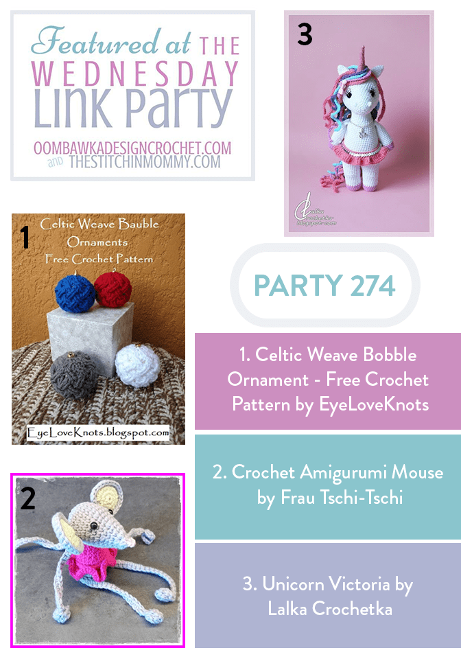 This week our three featured projects include a Celtic Weave Bobble Ornament, an adorable Amigurumi Mouse and the playful Unicorn Victoria.