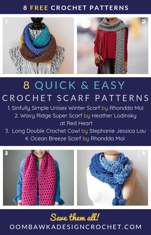Here are 8 quick and easy free crochet scarf patterns you can make to wear, or gift, to stave off that winter chill! #scarf #freepattern