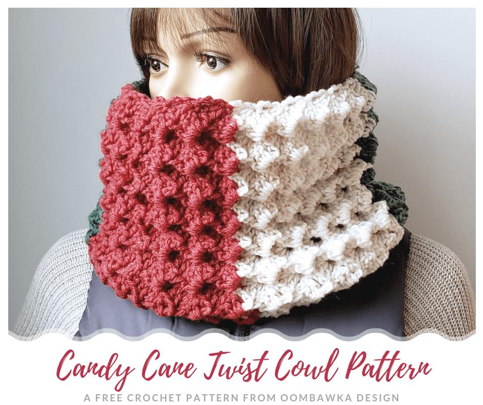 Candy Cane Twist Cowl Pattern. scarfofthemonthclub2018 OombawkaDesignCrochet FB