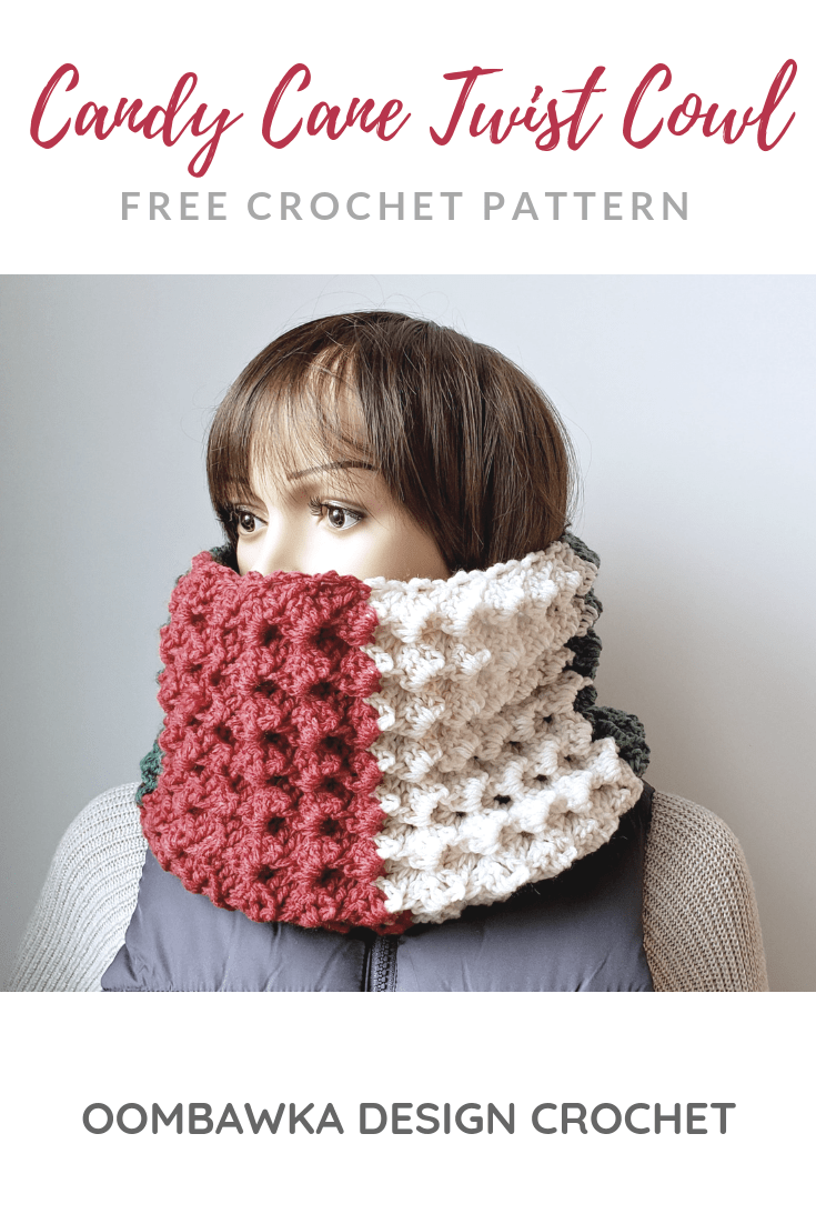 Free Candy Cane Twist Cowl Pattern. December Scarf of the Month Club.