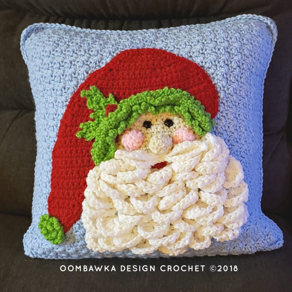 Crochet Santa Pillow. Oombawka Design Crochet Christmas 2018