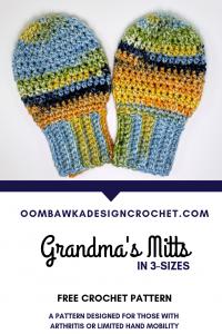 Grandmas Mitts. Free Crochet Pattern. Oombawka Design Crochet