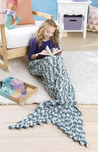 Mermaid Tail Kids Snuggies from Leisure Arts. Review by Oombawka Design Crochet
