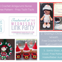 Wednesday Link Party 275 Featured Favorites Crochet Amigurumi Nurse Pattern, Grannys Christmas Wreath Pattern and Santa Glass Jar Cover Pattern