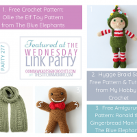 Featuring Ollie the Elf, Ronald the Gingerbread Man and the Hygge Braid Scarf Wednesday Link Party 277 FB