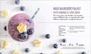 Wild Blueberry Blast with Banana and Chia Seeds - Healthy Quick and Easy Smoothies. DK Canada Book Review by Rhondda Mol Oombawka Design