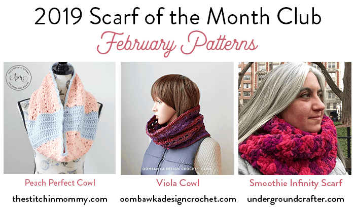 2019 Scarf of the Month Club February Patterns oombawkadesigncrochet