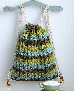 Cabled Backpack. Self Striping Projects. Leisure Arts. Book Review by Rhondda at Oombawka Design Crochet