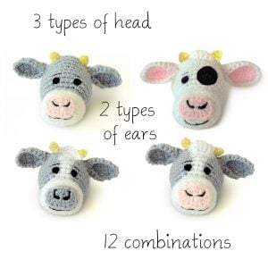 Cow Baby Blanket Head Options