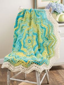 Ocean Ripple. Doily Afghans Cover. Annies Craft Store. Book Review. 3