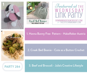 Hanna Bunny Free Pattern by Hakelfieber AustriaCreek Bed Beanie by Cute as a Button CrochetBeef and Broccoli by Julie's Creative Lifestyle