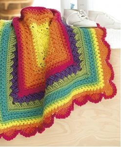 Rainbow Baby Blanket. Self Striping Projects. Leisure Arts. Book Review by Rhondda at Oombawka Design Crochet