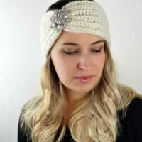 Knit-Look Rhinestone Ear Warmer by My Hobby is Crochet. Featured at the Wednesday Link Party