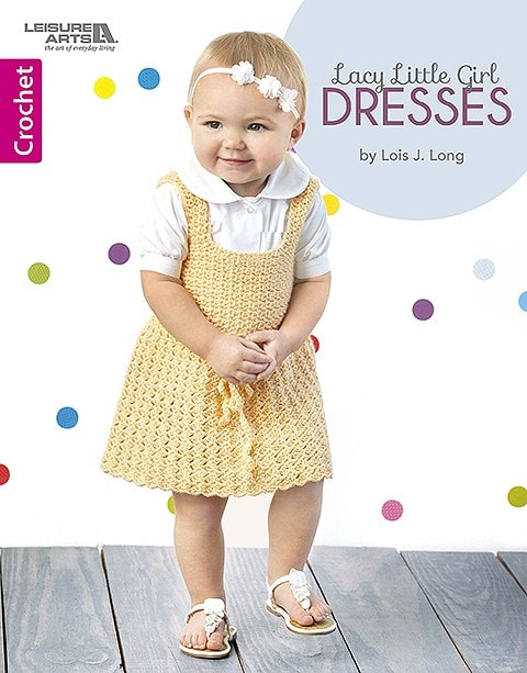 Cover. Lacy Little Girl Dress. Leisure Arts book review by Rhondda at Oombawka Design Crochet