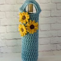 Sunflower Wine Cozy by Crochet 365 Knit Too