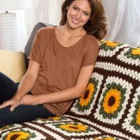 Sunflower Throw Crochet Afghan by Mary Jane Protus