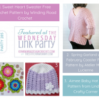 Sweet Heart Sweater Free Crochet Pattern CrochetSpring Garland with February Coaster Free Pattern Aimee Baby Hat Free Pattern from